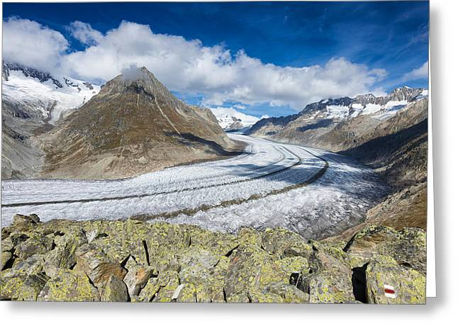 Swiss Photographs Greeting Cards - Stunning Aletsch Glacier in the Swiss Alps Switzerland Greeting Card by Matthias Hauser
