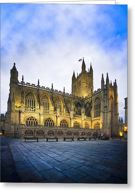 Stunning Beauty Of Bath Abbey At Dusk Greeting Card by Mark E Tisdale