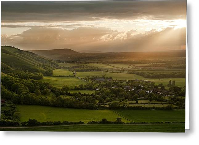God Beams Greeting Cards - Stunning countryside landscape with sun lighting side of hills a Greeting Card by Matthew Gibson