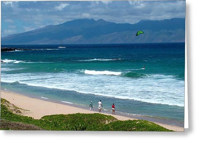 Kite Surfing Greeting Cards - Stunning Hawaii Greeting Card by John Loyd Rushing
