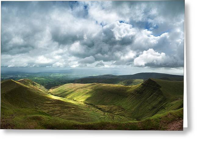 Brecon Beacons Greeting Cards - Stunning large panorama landscape of Brecon Beacons view from Pe Greeting Card by Matthew Gibson