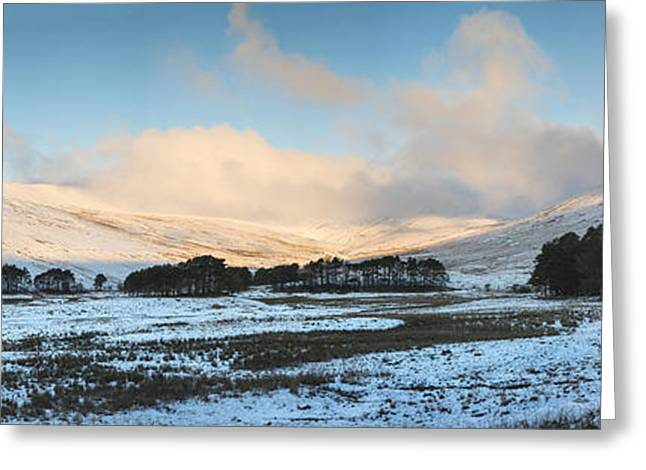Brecon Beacons Greeting Cards - Stunning large panorama landscape over snow covered Winter lands Greeting Card by Matthew Gibson