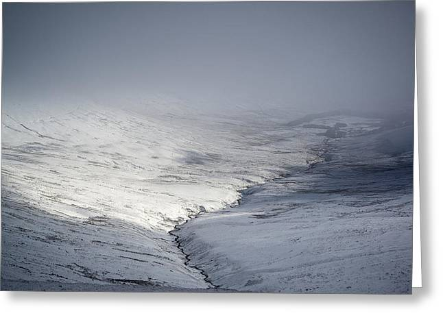 Brecon Beacons Greeting Cards - Stunning moody dramatic mountain Winter landscape looking into c Greeting Card by Matthew Gibson