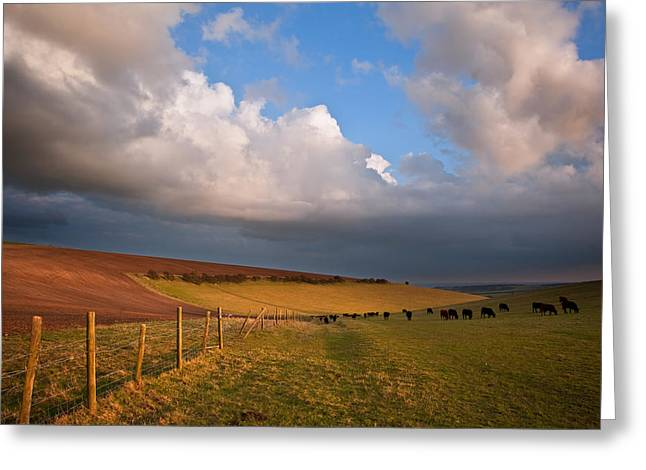 Colorful Cloud Formations Greeting Cards - Stunning scene across escarpment countryside landscape with bea Greeting Card by Matthew Gibson