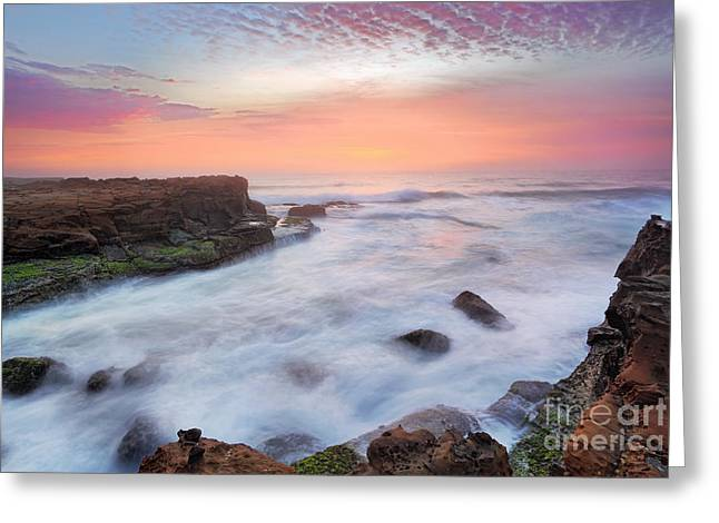 Turbulent Skies Greeting Cards - Stunning sunrise and ocean flows over tidal rocks Greeting Card by Leah-Anne Thompson