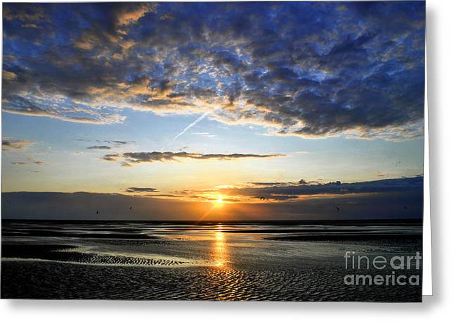 Kiteboarding Greeting Cards - Stunning sunset after the tide in Delta Greeting Card by Maja Sokolowska