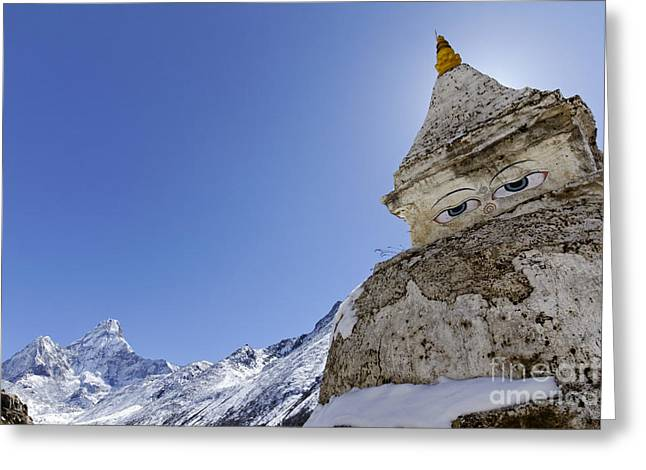 Buddhist Region Greeting Cards - Stupa and Ama Dablam mountain in the Everest Region of Nepal Greeting Card by Robert Preston