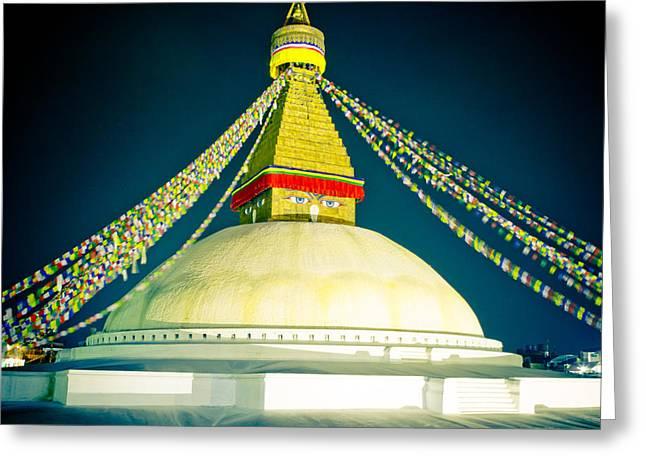 Tibetan Buddhism Greeting Cards - Stupa Boudhanath at night NEPAL Kathmandu MUKTIANTH YATRA 2013 Artmif.lv Greeting Card by Raimond Klavins