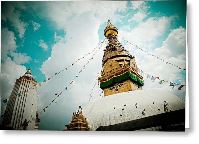 Tibetan Greeting Cards - Stupa Swayambhunath Kathmandu Greeting Card by Raimond Klavins