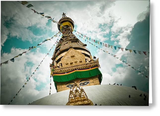 Tibetan Buddhism Greeting Cards - Stupa Swayambhunath Greeting Card by Raimond Klavins
