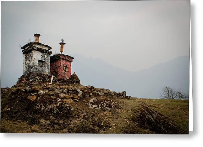 Tibetan Region Greeting Cards - Stupas Greeting Card by Helix Games Photography