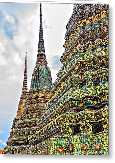 Asien Greeting Cards - Stupas of Wat Po Greeting Card by Joerg Lingnau