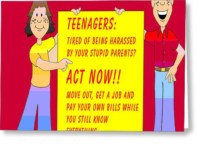 Funny Cartoon Digital Art Greeting Cards - Stupid Parents And Their Teenagers Greeting Card by Barbara Snyder