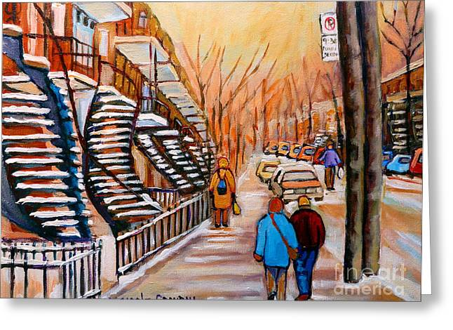 The Plateaus Greeting Cards - St.urbain Street Walk In Winter Greeting Card by Carole Spandau