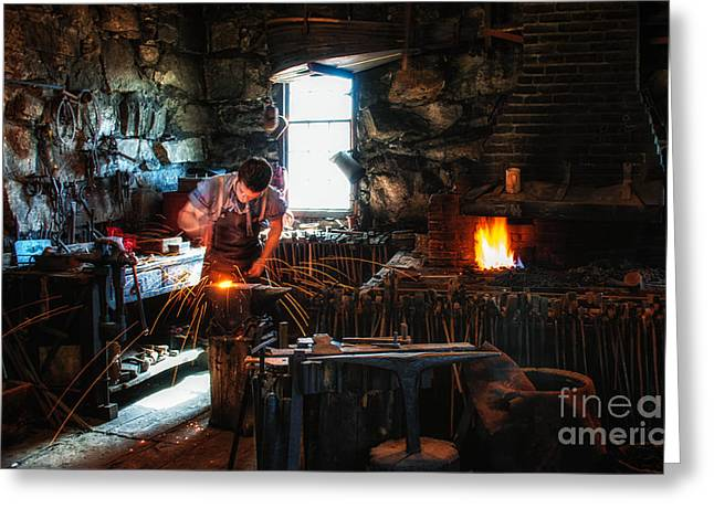Sturbridge Village Blacksmith Greeting Card by Scott Thorp