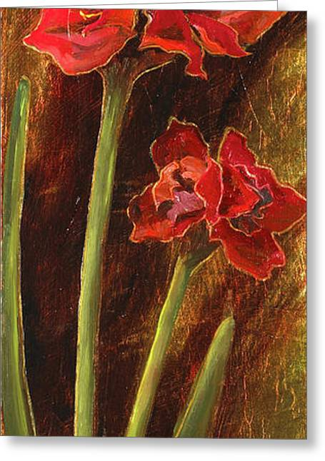 Mo Artist Paintings Greeting Cards - Sturdy Blooms II Greeting Card by Vic  Mastis