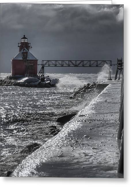 Blowing Snow Greeting Cards - Sturgeon Bay After the Storm Greeting Card by Joan Carroll