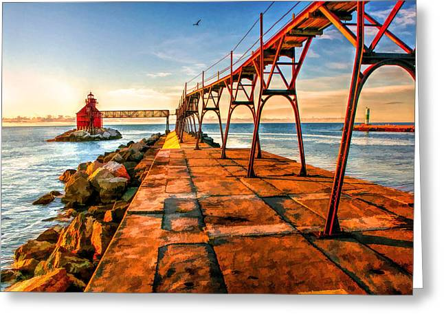 Sturgeon Greeting Cards - Sturgeon Bay Canal Pierhead Light Greeting Card by Christopher Arndt