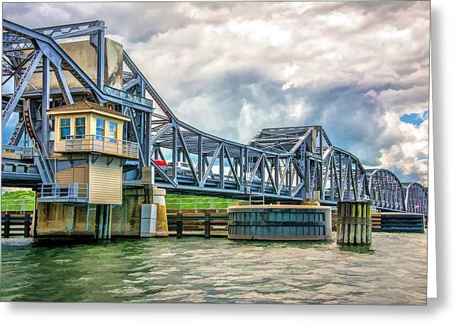 Historic Places Greeting Cards - Sturgeon Bay Historic Michigan Street Bridge Greeting Card by Christopher Arndt