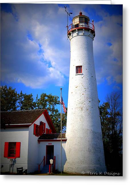 Terri K Designs Greeting Cards - Sturgeon Point Lighthouse Michigan Greeting Card by Terri K Designs