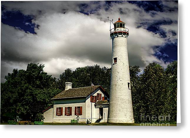 Sturgeon Greeting Cards - Sturgeon Point Lighthouse Greeting Card by Nick Zelinsky