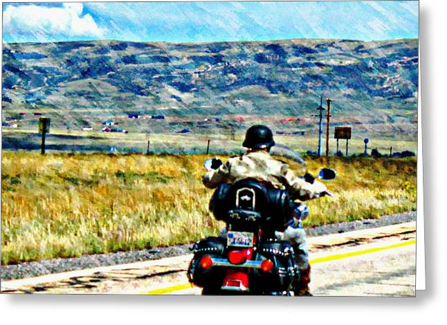 Gypsy Greeting Cards - Sturgis Road Warrior Greeting Card by Barbara Chichester