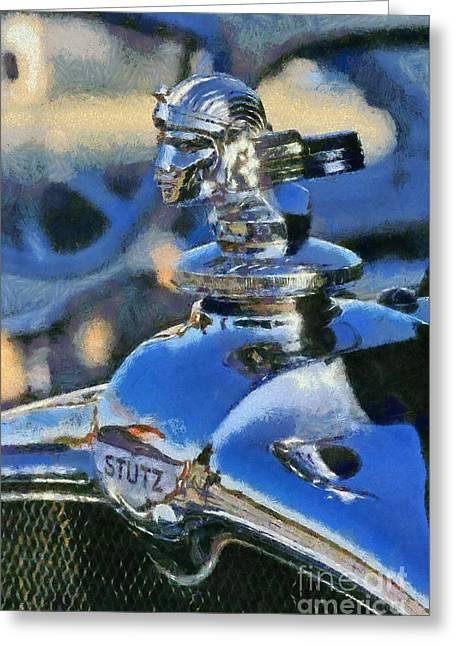 Vintage Hood Ornament Paintings Greeting Cards - 1928 Stutz BB Greeting Card by George Atsametakis