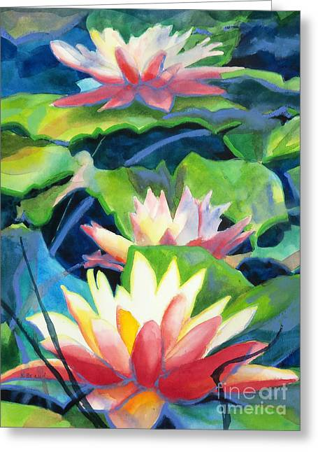 Red Coral Greeting Cards - Styalized Lily Pads 3 Greeting Card by Kathy Braud