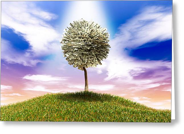 Money Greeting Cards - Stylised Money Tree American Dollar Notes On Grassy Hill Greeting Card by Allan Swart