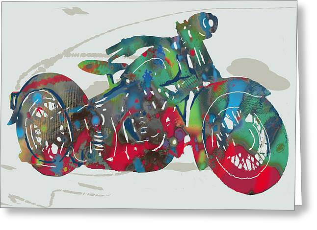 Self-portrait Mixed Media Greeting Cards - Stylised motorcycle art sketch poster Greeting Card by Kim Wang