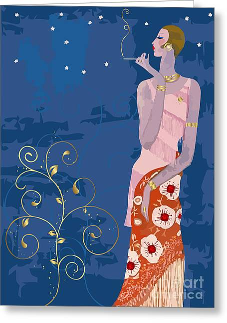 Indian Summer Greeting Cards - Stylish vintage fashion lady Greeting Card by Indian Summer