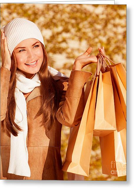 Purchase Greeting Cards - Stylish woman with purchase bags Greeting Card by Anna Omelchenko