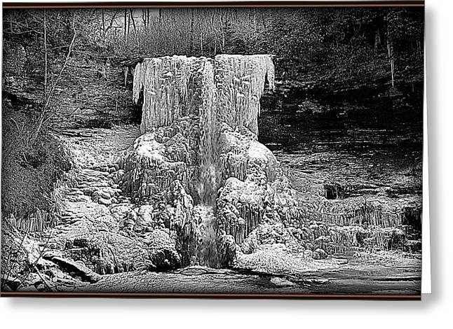 Featured Art Greeting Cards - Stylized Black and White Frozen Waterfall Greeting Card by Constance Lowery