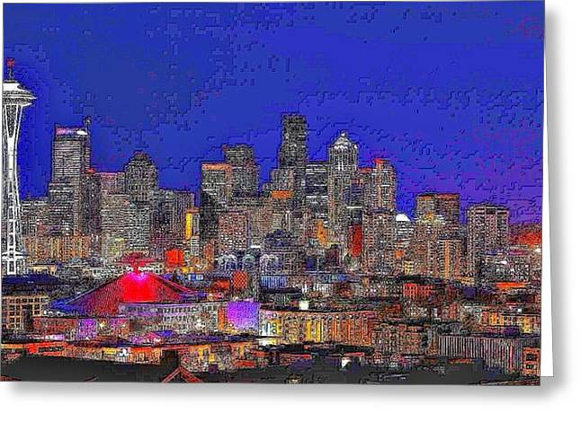 Stylized Art Greeting Cards - Stylized Seattle Skyline Greeting Card by Benjamin Yeager