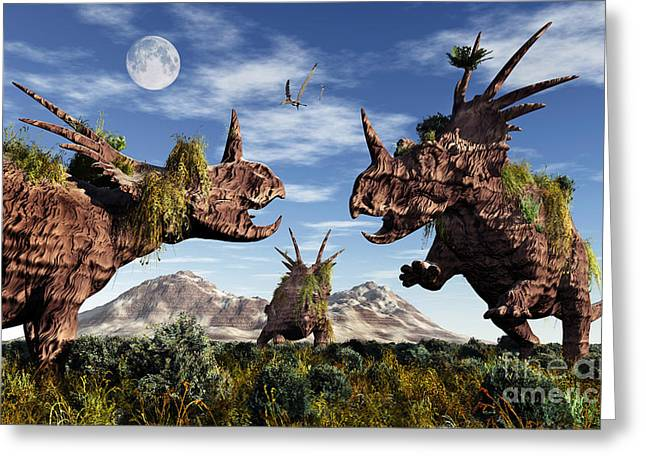 Primitive Sculpture Greeting Cards - Styracosaurus Dinosaur Sculptures Greeting Card by Mark Stevenson