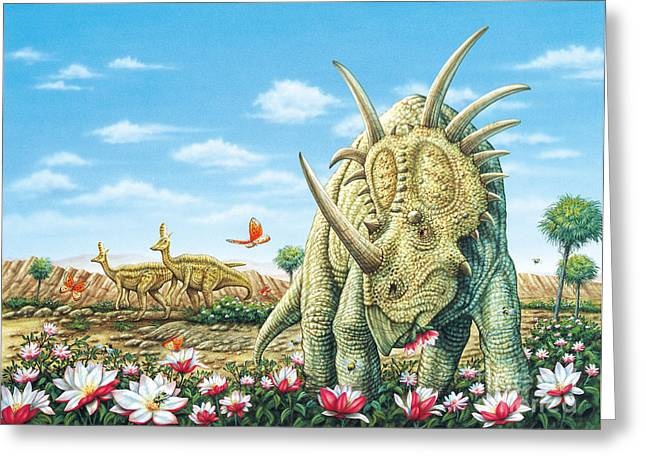 Phil Wilson Greeting Cards - Styracosaurus eating Magnolias with Lambeosaurus Greeting Card by Phil Wilson