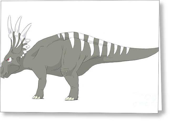 Paleontology Greeting Cards - Styracosaurus Pencil Drawing Greeting Card by Alice Turner