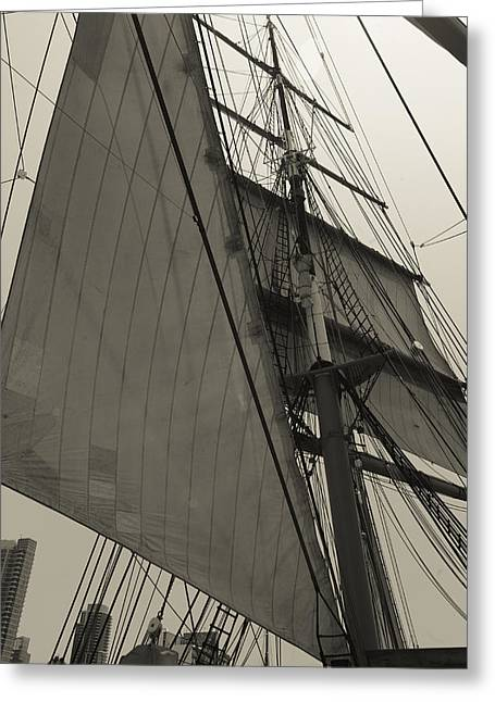Best Sellers -  - Wooden Ship Greeting Cards - Suare and Triangle Black and White Sepia Greeting Card by Scott Campbell