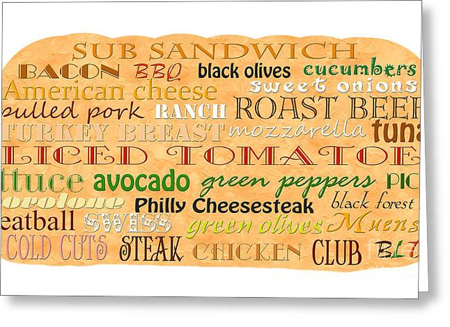 Lettuce Mixed Media Greeting Cards - Sub Sandwich Typography Greeting Card by Andee Design