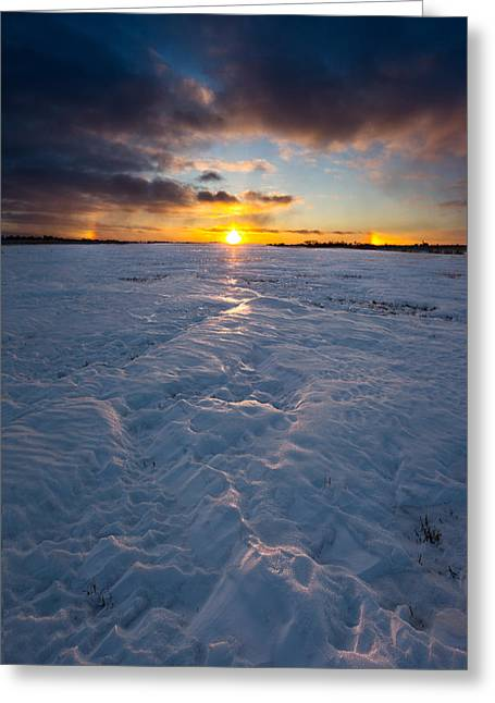 Below Greeting Cards - Sub-Zero Sunset Greeting Card by Aaron J Groen