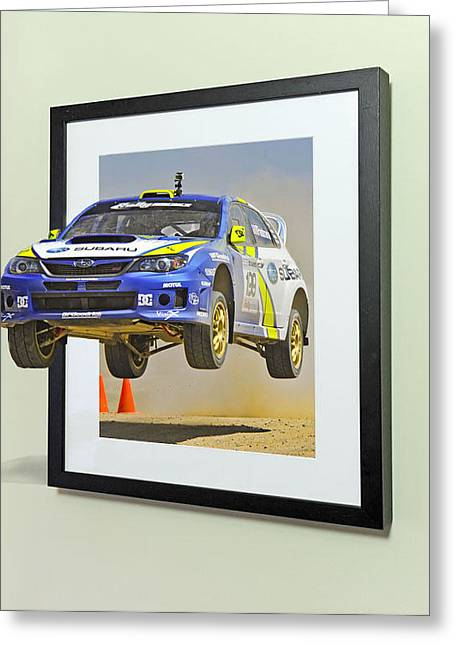 Subaru Rally Greeting Cards - Subaru frame break out  Greeting Card by Russell Mcconkey