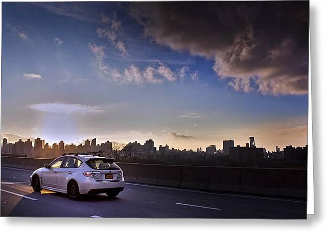 Impreza Greeting Cards - Subaru Impreza Wagon WRX STI Sunset Greeting Card by Samir Mustafic