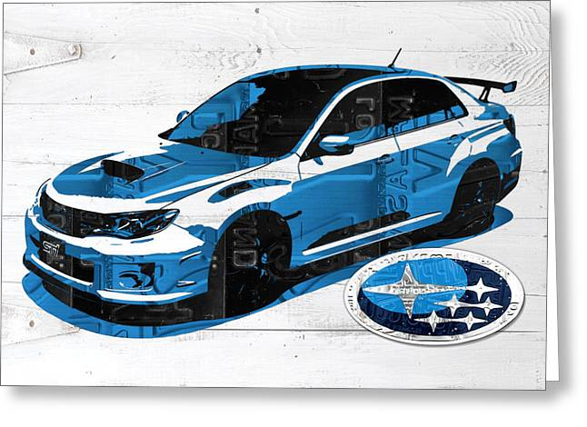 White Barns Greeting Cards - Subaru Impreza WRX Recycled License Plate Art on White Barn Door Greeting Card by Design Turnpike