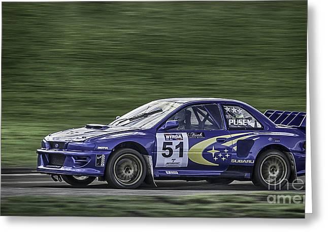 Blue Subaru Greeting Cards - Subaru Imprezza Greeting Card by Nigel Jones