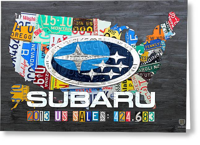 2013 Greeting Cards - Subaru License Plate Map Sales Celebration Limited Edition 2013 Art Greeting Card by Design Turnpike