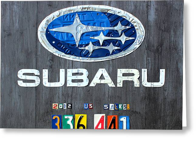 Subaru Logo Art Celebrating 2012 Usa Sales Totals Greeting Card by Design Turnpike