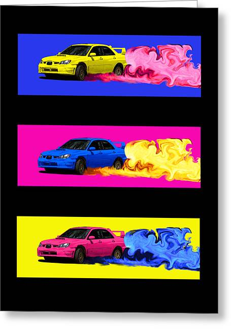 Subaru Rally Greeting Cards - Subaru STi Drift in Color Greeting Card by Erin Hissong