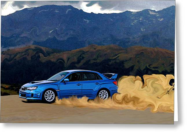 Subaru Rally Greeting Cards - Subaru WRX STi Drifting in the Dirt Greeting Card by Erin Hissong