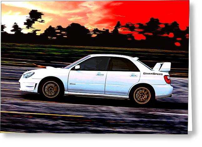 Impreza Greeting Cards - Subaru WRX STi Racing at Sunset Greeting Card by Erin Hissong