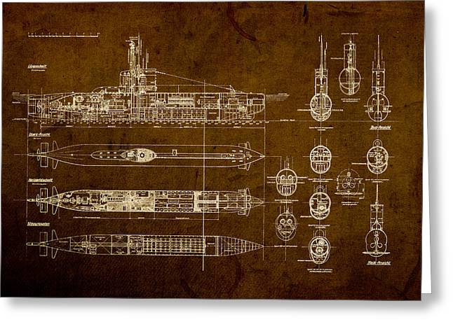 Worn Greeting Cards - Submarine Blueprint Vintage on Distressed Worn Parchment Greeting Card by Design Turnpike